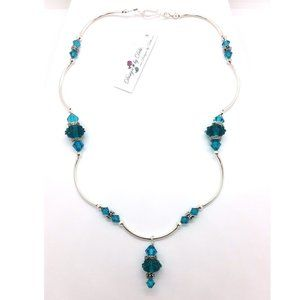 Blue Zircon Glass & Crystal Floral Necklace